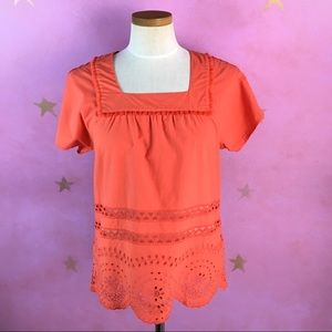MADEWELL CORAL EYELET ANGELICA TOP SIZE SMALL